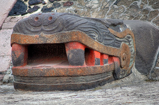 A Serpent Head On Aztec Pyramid